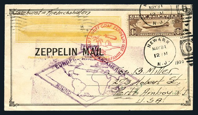 US Stamp Value Scott # C14: 1930 US$1.30 Air Graf Zeppelin. Harmer-Schau Auction Galleries, Aug 2015, Sale 106, Lot 2055