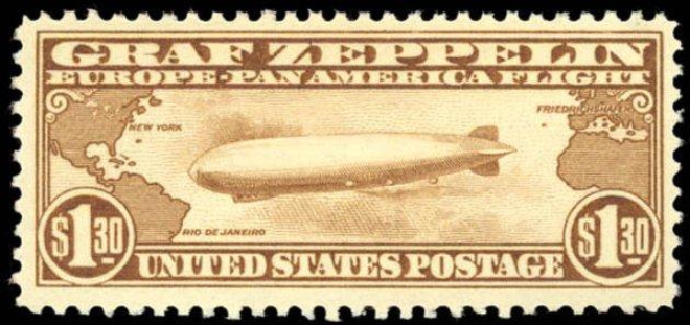 Price of US Stamps Scott Catalogue # C14: 1930 US$1.30 Air Graf Zeppelin. Daniel Kelleher Auctions, Aug 2015, Sale 672, Lot 2895