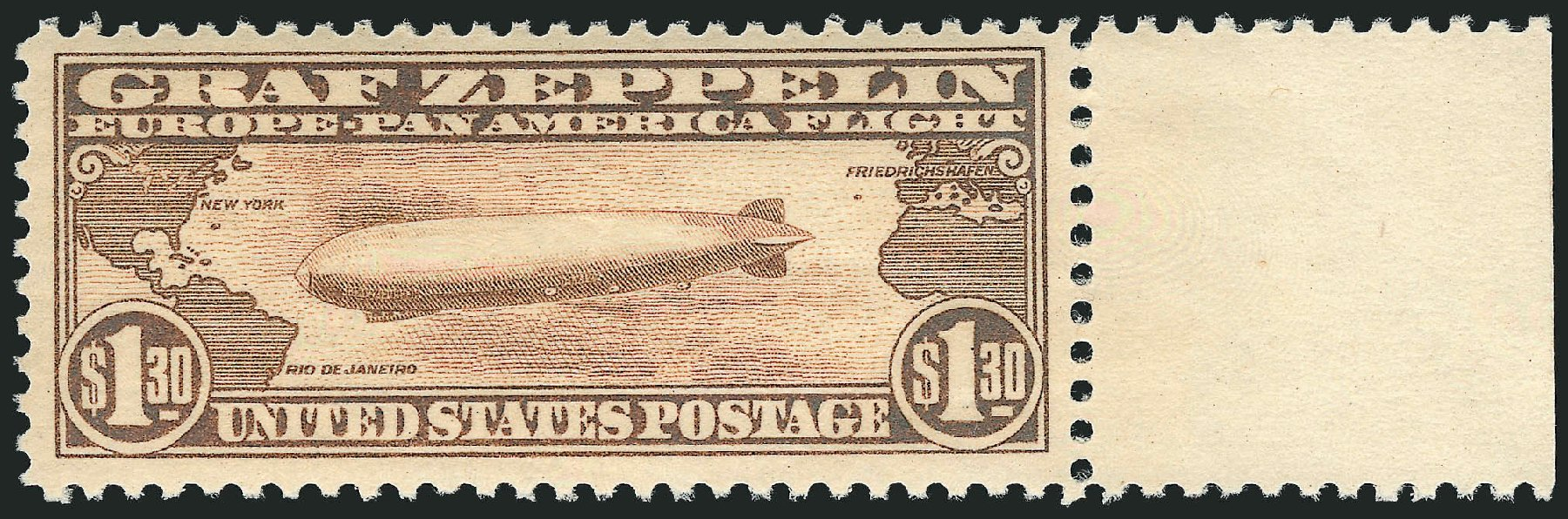 US Stamps Values Scott Cat. #C14: 1930 US$1.30 Air Graf Zeppelin. Robert Siegel Auction Galleries, Feb 2015, Sale 1092, Lot 1415