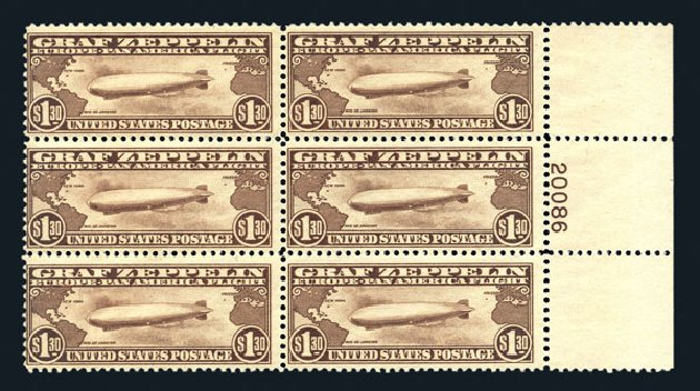 US Stamps Values Scott Cat. C14: 1930 US$1.30 Air Graf Zeppelin. Harmer-Schau Auction Galleries, Aug 2015, Sale 106, Lot 2052