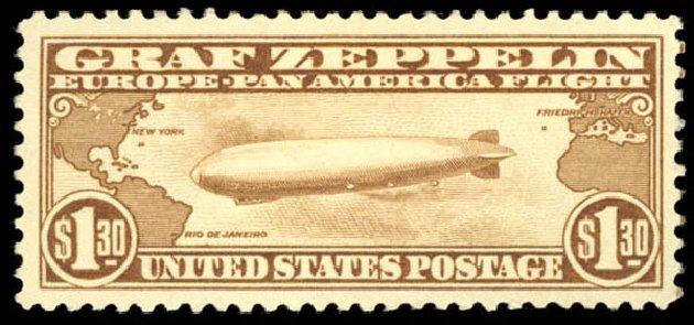 US Stamps Value Scott Cat. # C14 - US$1.30 1930 Air Graf Zeppelin. Daniel Kelleher Auctions, Aug 2015, Sale 672, Lot 2893