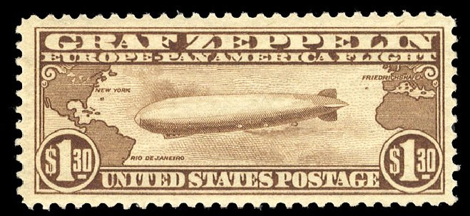 Value of US Stamp Scott #C14: US$1.30 1930 Air Graf Zeppelin. Cherrystone Auctions, Mar 2015, Sale 201503, Lot 76