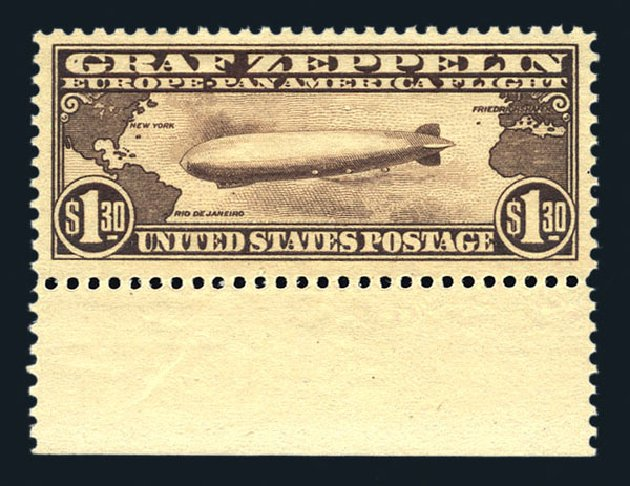 Value of US Stamps Scott #C14: US$1.30 1930 Air Graf Zeppelin. Harmer-Schau Auction Galleries, Aug 2015, Sale 106, Lot 2046