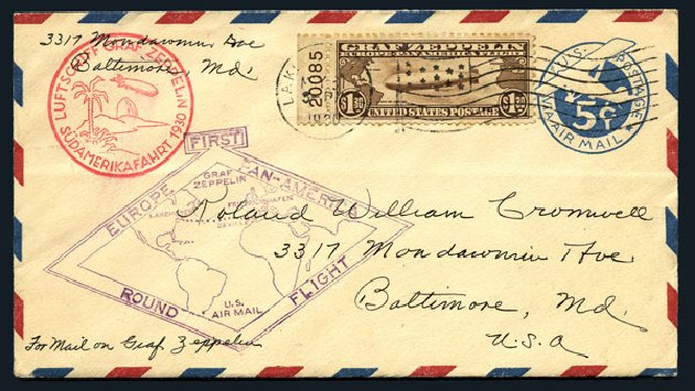 Prices of US Stamp Scott Cat. #C14: 1930 US$1.30 Air Graf Zeppelin. Harmer-Schau Auction Galleries, Aug 2015, Sale 106, Lot 2056