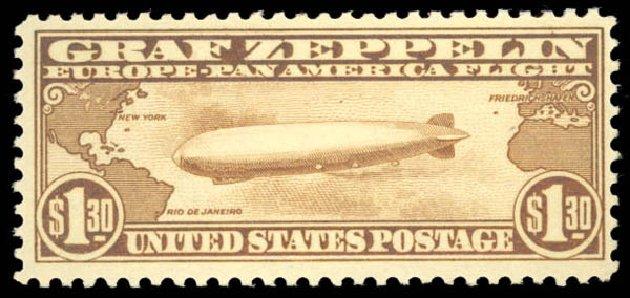 US Stamps Values Scott Cat. # C14: 1930 US$1.30 Air Graf Zeppelin. Daniel Kelleher Auctions, Aug 2015, Sale 672, Lot 2896