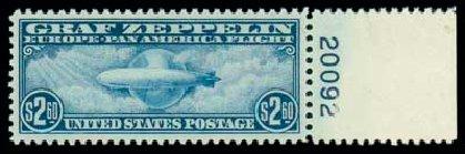 Values of US Stamps Scott Cat. C15 - US$2.60 1930 Air Graf Zeppelin. Matthew Bennett International, Oct 2007, Sale 322, Lot 2287