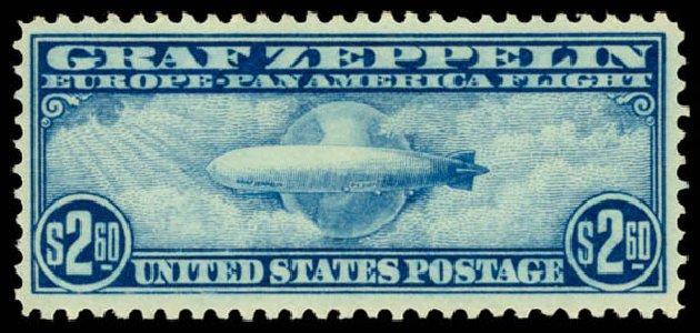 US Stamps Values Scott # C15: US$2.60 1930 Air Graf Zeppelin. Daniel Kelleher Auctions, Jan 2015, Sale 663, Lot 2077