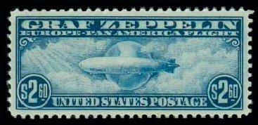 Value of US Stamp Scott #C15: 1930 US$2.60 Air Graf Zeppelin. Matthew Bennett International, Oct 2007, Sale 322, Lot 2288