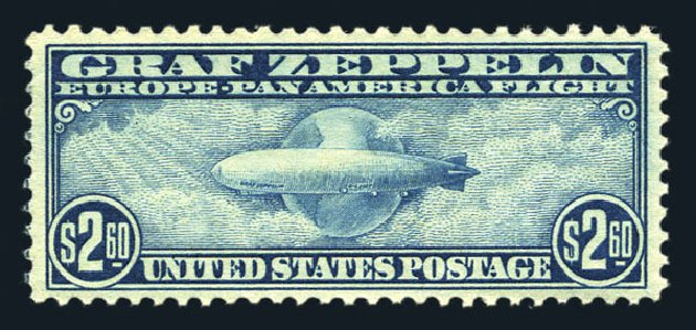 Values of US Stamp Scott Cat. C15: US$2.60 1930 Air Graf Zeppelin. Harmer-Schau Auction Galleries, Aug 2015, Sale 106, Lot 2058