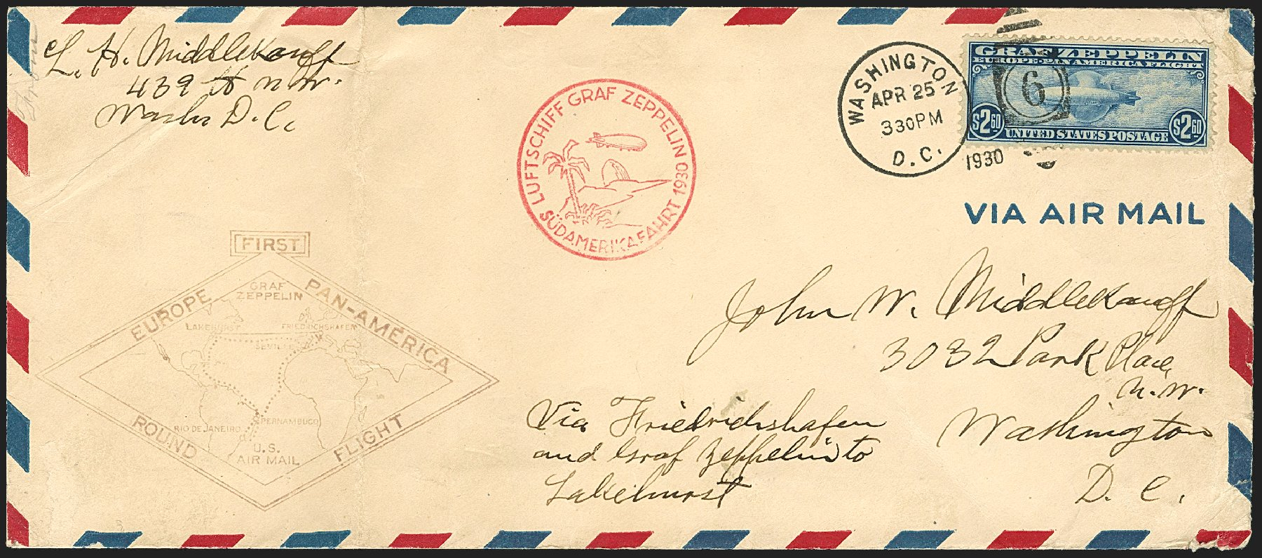 Value of US Stamps Scott #C15 - US$2.60 1930 Air Graf Zeppelin. Robert Siegel Auction Galleries, Jul 2015, Sale 1107, Lot 598