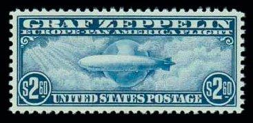 Values of US Stamps Scott Cat. #C15 - US$2.60 1930 Air Graf Zeppelin. Matthew Bennett International, Jun 2007, Sale 319, Lot 1609