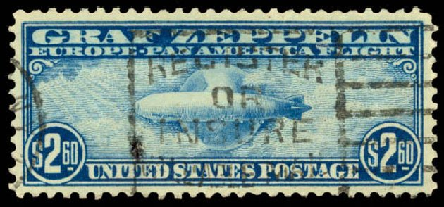 US Stamp Value Scott Cat. C15: 1930 US$2.60 Air Graf Zeppelin. Daniel Kelleher Auctions, Aug 2015, Sale 672, Lot 2899