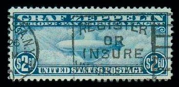 Values of US Stamps Scott Catalogue C15: US$2.60 1930 Air Graf Zeppelin. Matthew Bennett International, Jun 2007, Sale 319, Lot 1610