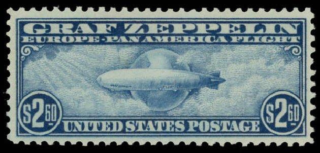 US Stamp Value Scott Cat. C15: 1930 US$2.60 Air Graf Zeppelin. Daniel Kelleher Auctions, May 2015, Sale 669, Lot 3252