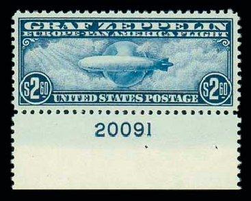 Cost of US Stamp Scott Catalogue #C15: US$2.60 1930 Air Graf Zeppelin. Matthew Bennett International, Dec 2007, Sale 325, Lot 2373