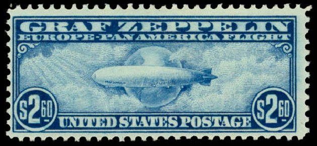 Prices of US Stamps Scott Catalogue C15 - US$2.60 1930 Air Graf Zeppelin. Daniel Kelleher Auctions, May 2015, Sale 669, Lot 3253