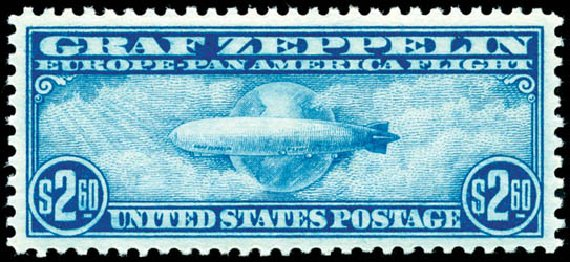 Prices of US Stamps Scott #C15 - 1930 US$2.60 Air Graf Zeppelin. Schuyler J. Rumsey Philatelic Auctions, Apr 2015, Sale 60, Lot 2483
