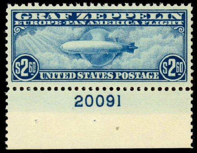 US Stamp Values Scott Catalog #C15: 1930 US$2.60 Air Graf Zeppelin. Daniel Kelleher Auctions, Jan 2015, Sale 663, Lot 2076