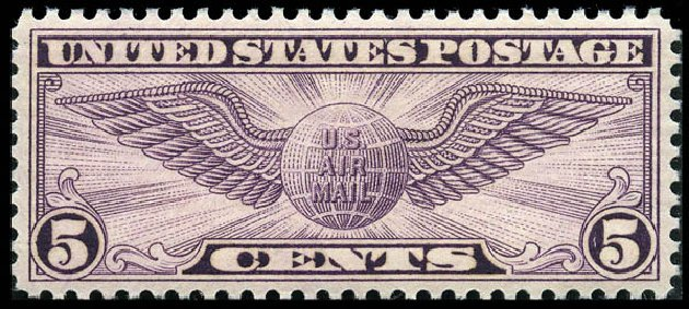 Prices of US Stamps Scott Catalogue #C16: 1931 5c Air Winged Globe. Matthew Bennett International, Feb 2012, Sale 340, Lot 562