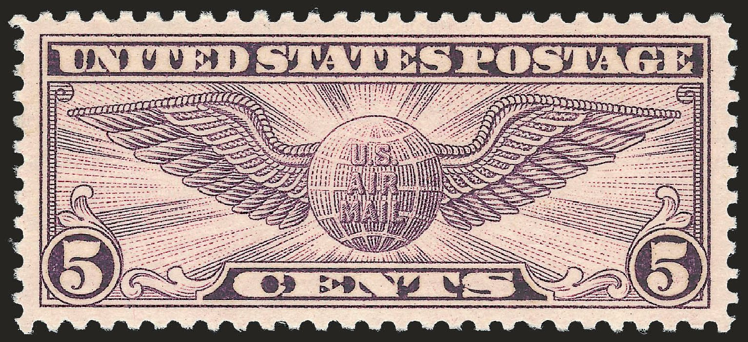 US Stamps Value Scott Cat. C16: 1931 5c Air Winged Globe. Robert Siegel Auction Galleries, Jun 2009, Sale 975, Lot 2133