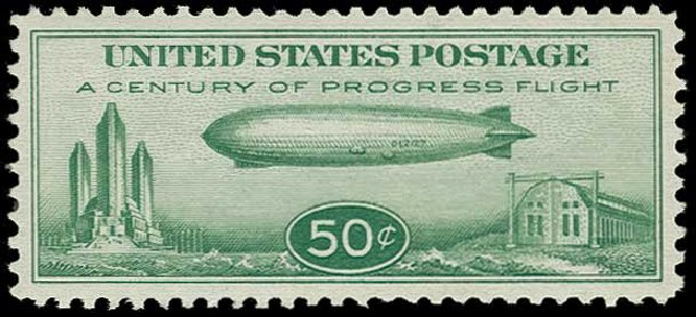 Prices of US Stamps Scott Catalog #C18 - 1933 50c Air Graf Zeppelin. H.R. Harmer, Jun 2015, Sale 3007, Lot 3457