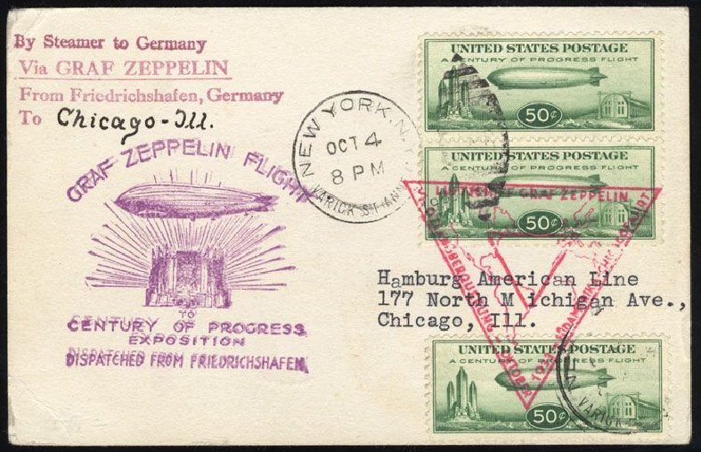 Prices of US Stamp Scott Catalogue #C18 - 50c 1933 Air Graf Zeppelin. Cherrystone Auctions, Mar 2008, Sale 200803, Lot 349