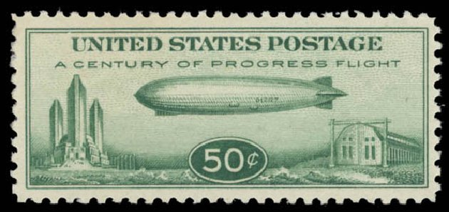US Stamps Values Scott Catalog #C18 - 50c 1933 Air Graf Zeppelin. Daniel Kelleher Auctions, May 2015, Sale 669, Lot 3259