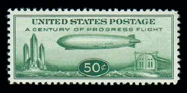 Cost of US Stamp Scott Catalogue C18: 1933 50c Air Graf Zeppelin. Matthew Bennett International, Jun 2007, Sale 319, Lot 1611
