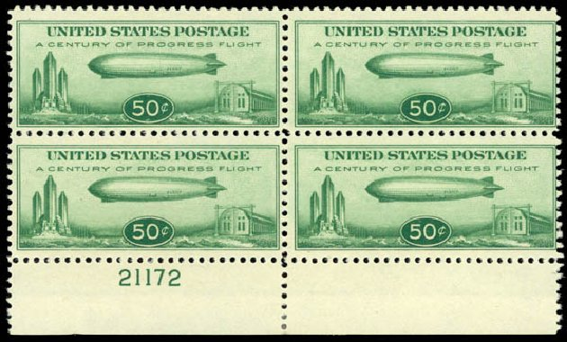 US Stamps Values Scott Cat. #C18: 50c 1933 Air Graf Zeppelin. Daniel Kelleher Auctions, Aug 2015, Sale 672, Lot 2901