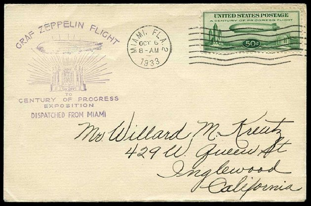 US Stamps Prices Scott Cat. C18: 50c 1933 Air Graf Zeppelin. Harmer-Schau Auction Galleries, Aug 2015, Sale 106, Lot 2066