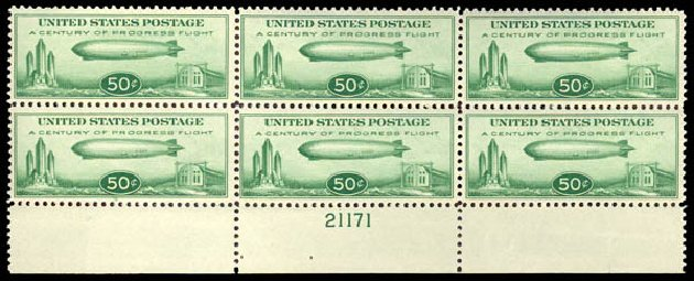 US Stamp Prices Scott C18 - 1933 50c Air Graf Zeppelin. Daniel Kelleher Auctions, May 2015, Sale 669, Lot 3256