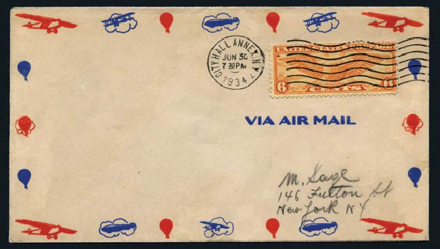 Costs of US Stamp Scott C19 - 1934 6c Air Winged Globe. Harmer-Schau Auction Galleries, Aug 2014, Sale 102, Lot 2173
