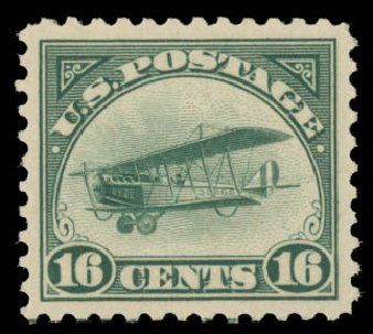 US Stamps Price Scott Catalogue # C2 - 16c 1918 Air Curtiss Jenny. Daniel Kelleher Auctions, May 2015, Sale 669, Lot 3227