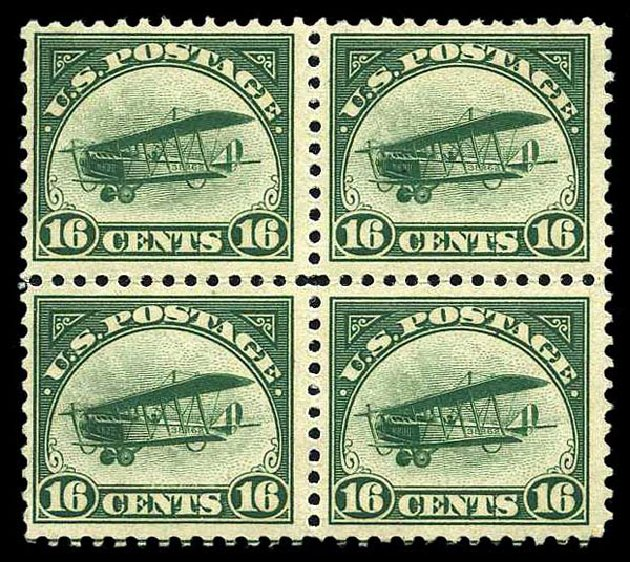 US Stamp Prices Scott Catalogue # C2: 1918 16c Air Curtiss Jenny. Harmer-Schau Auction Galleries, Aug 2015, Sale 106, Lot 2008