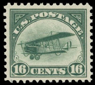 US Stamps Values Scott Catalogue C2: 1918 16c Air Curtiss Jenny. Daniel Kelleher Auctions, May 2015, Sale 669, Lot 3228