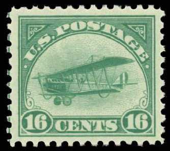 Value of US Stamp Scott C2 - 16c 1918 Air Curtiss Jenny. Daniel Kelleher Auctions, Aug 2015, Sale 672, Lot 2868