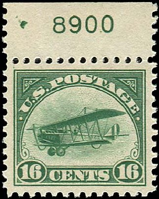 US Stamp Prices Scott Catalog # C2 - 1918 16c Air Curtiss Jenny. Regency-Superior, Nov 2014, Sale 108, Lot 1068