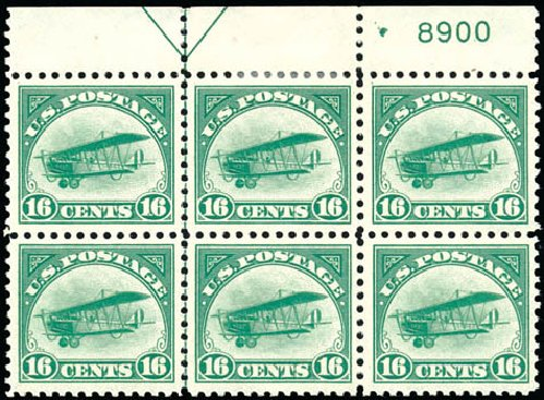 US Stamps Price Scott C2: 1918 16c Air Curtiss Jenny. Schuyler J. Rumsey Philatelic Auctions, Apr 2015, Sale 60, Lot 2998