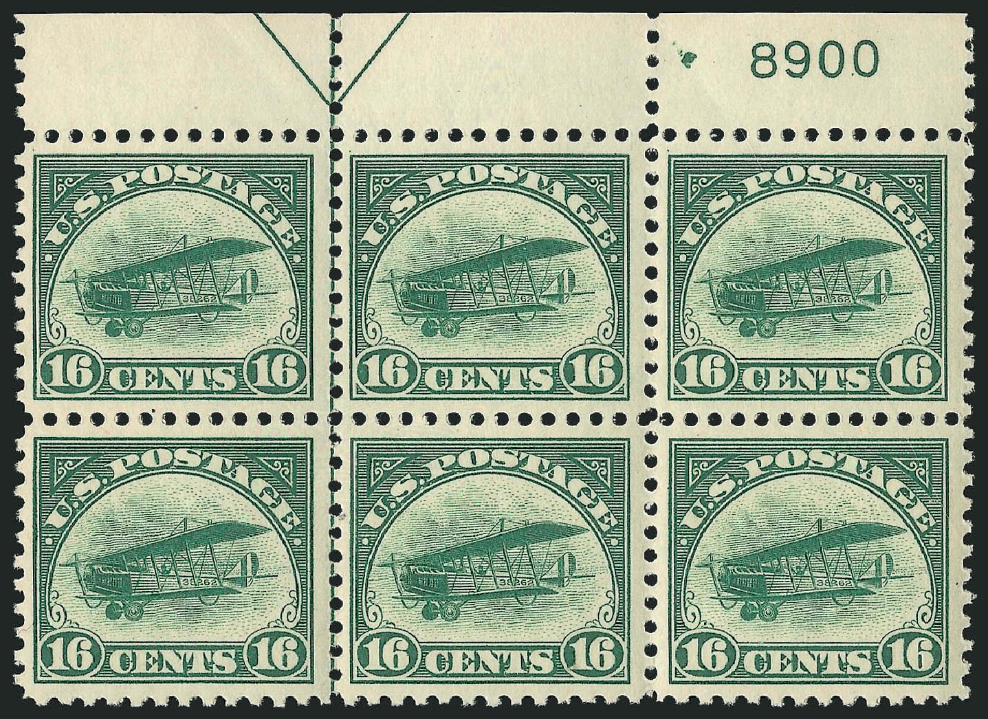 Cost of US Stamps Scott # C2 - 1918 16c Air Curtiss Jenny. Robert Siegel Auction Galleries, Feb 2015, Sale 1093, Lot 580