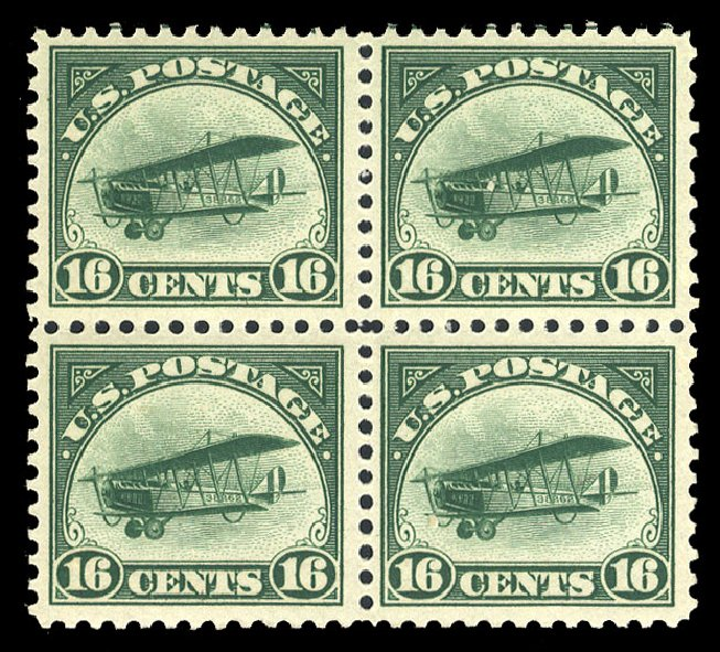 US Stamp Values Scott C2: 16c 1918 Air Curtiss Jenny. Cherrystone Auctions, May 2015, Sale 201505, Lot 51