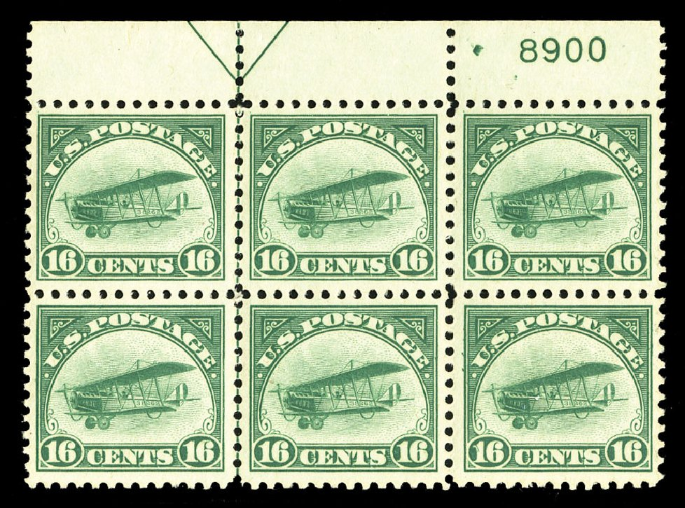 Values of US Stamps Scott Cat. # C2: 16c 1918 Air Curtiss Jenny. Cherrystone Auctions, Jul 2015, Sale 201507, Lot 2181