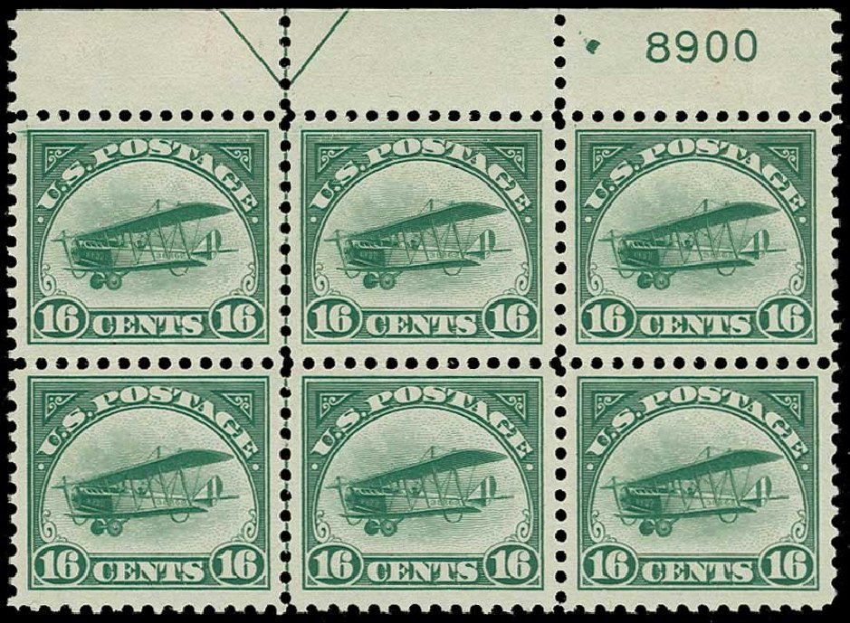 Values of US Stamps Scott Catalogue C2 - 1918 16c Air Curtiss Jenny. H.R. Harmer, Jun 2015, Sale 3007, Lot 3434