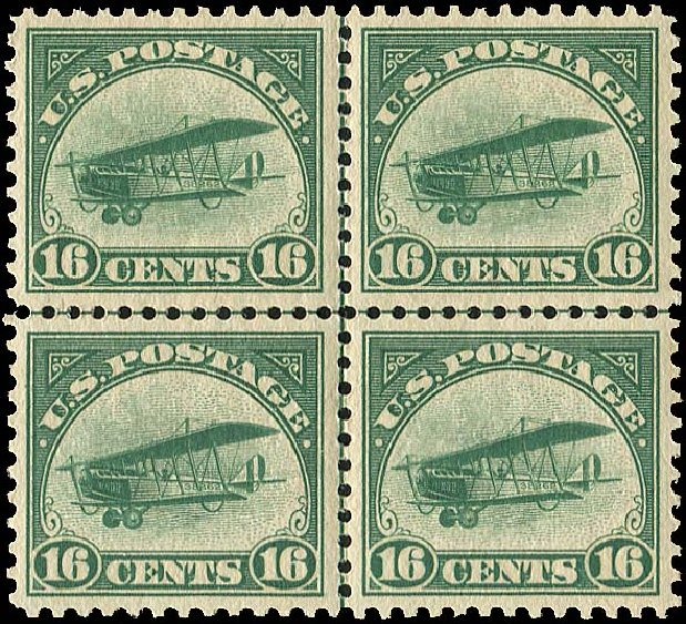 Prices of US Stamps Scott Catalog C2: 1918 16c Air Curtiss Jenny. Regency-Superior, Aug 2015, Sale 112, Lot 1004