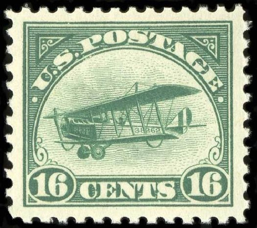 Value of US Stamps Scott # C2: 16c 1918 Air Curtiss Jenny. Spink Shreves Galleries, Jul 2015, Sale 151, Lot 354