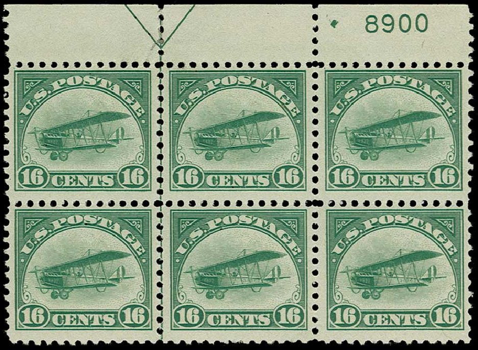 Costs of US Stamps Scott Catalogue C2 - 1918 16c Air Curtiss Jenny. H.R. Harmer, Jun 2015, Sale 3007, Lot 3435