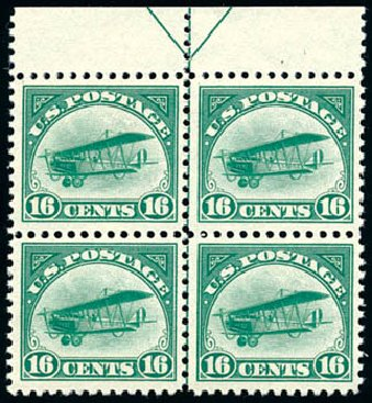 US Stamps Prices Scott C2: 16c 1918 Air Curtiss Jenny. Schuyler J. Rumsey Philatelic Auctions, Apr 2015, Sale 60, Lot 2465