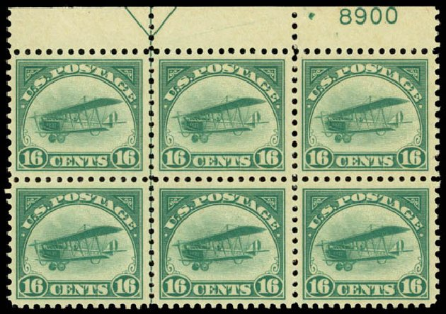 US Stamps Value Scott Catalog C2 - 1918 16c Air Curtiss Jenny. Daniel Kelleher Auctions, Jan 2015, Sale 663, Lot 2052