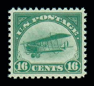 Cost of US Stamps Scott C2: 16c 1918 Air Curtiss Jenny. Matthew Bennett International, Jun 2007, Sale 319, Lot 1583