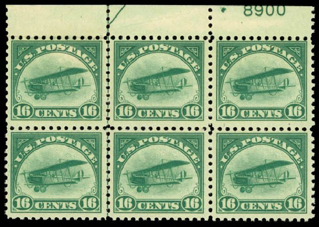 US Stamp Price Scott Catalog #C2 - 1918 16c Air Curtiss Jenny. Daniel Kelleher Auctions, Jan 2015, Sale 663, Lot 2053