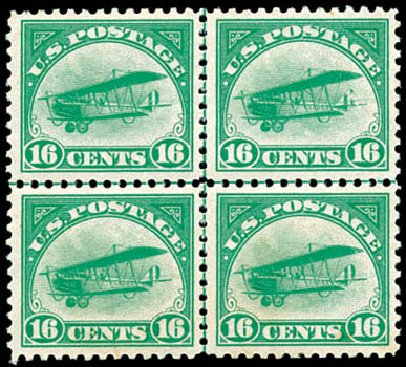 Costs of US Stamp Scott # C2 - 1918 16c Air Curtiss Jenny. Schuyler J. Rumsey Philatelic Auctions, Apr 2015, Sale 60, Lot 2466